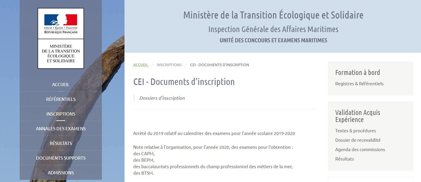 Inscription aux examens 2020